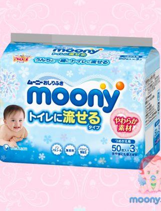 Влажные водорастворимые салфетки Moony 250 шт. (5 упак. х 50 шт.)