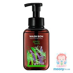Пена-мыло для рук Wash Bon с ароматом зеленых трав, с помпой, 500 мл
