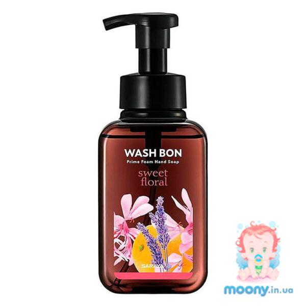 Пена-мыло для рук Wash Bon с ароматом цветов, с помпой, 500 мл