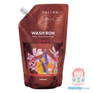 Пена-мыло для рук Wash Bon с ароматом цветов 500 мл, наполнитель